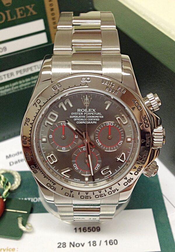 Rolex replica Daytona 116509 White Gold Slate Dial