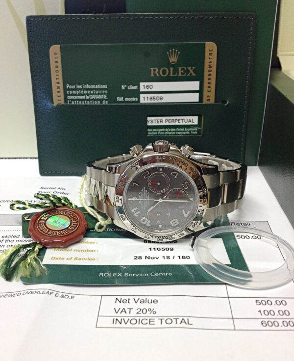 Rolex replica Daytona 116509 White Gold Slate Dial4