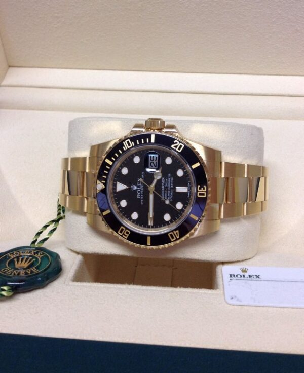 Rolex replica Submariner Date 116618LN Yellow Gold2