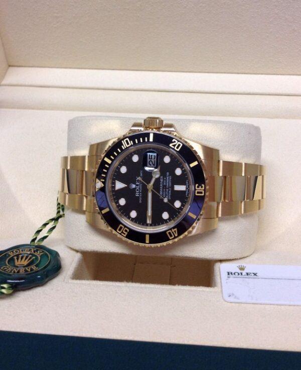 Rolex replica Submariner Date 116618LN Yellow Gold2