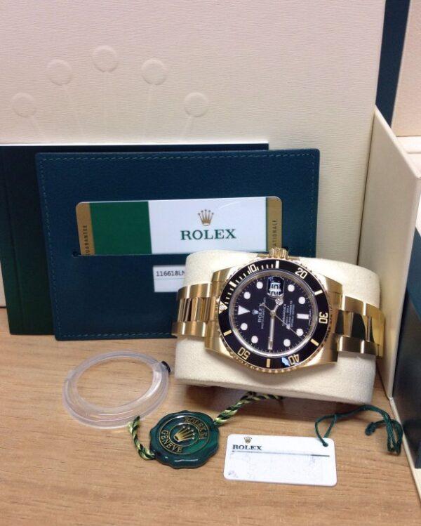 Rolex replica Submariner Date 116618LN Yellow Gold4